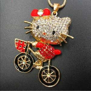 Bicycling Cat Necklace